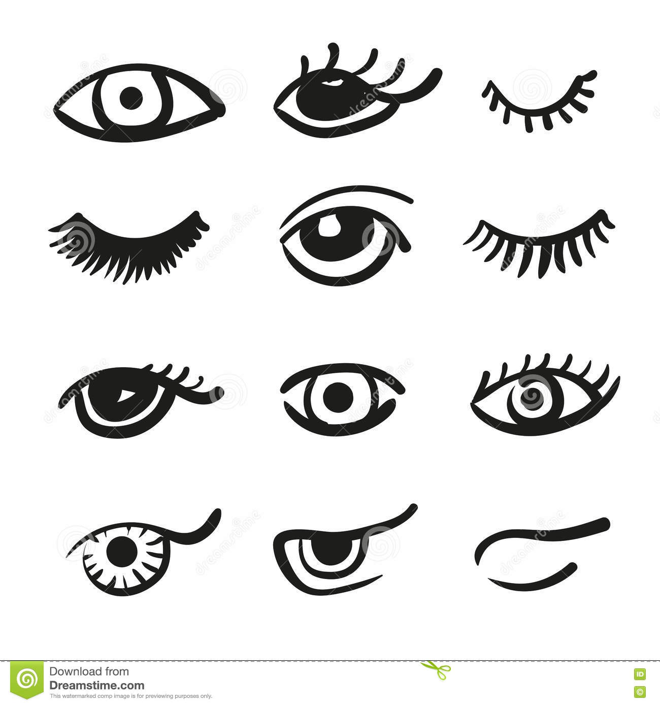 Set Of Doodle Eyes And Lashes Stock Vector