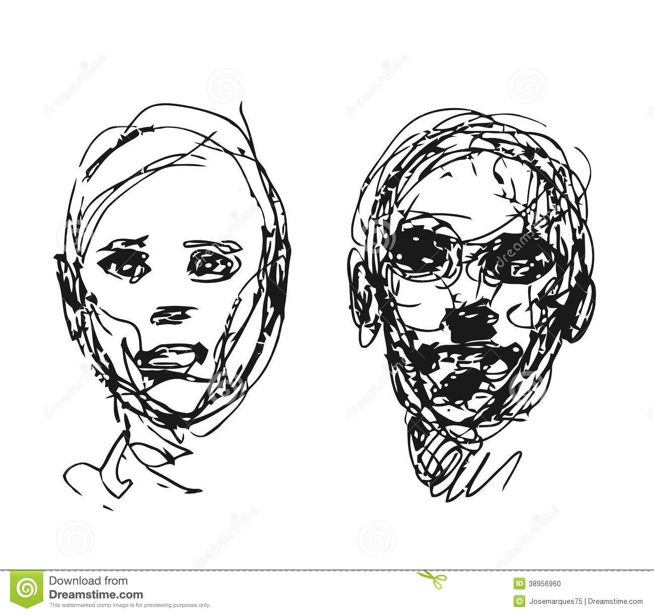 Set Of Drawing Heads Stock Vector