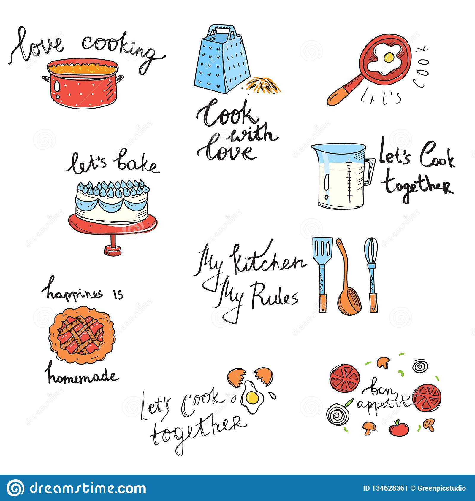 Set Of Drawn Labels Of Kitchen Utensils And Food With