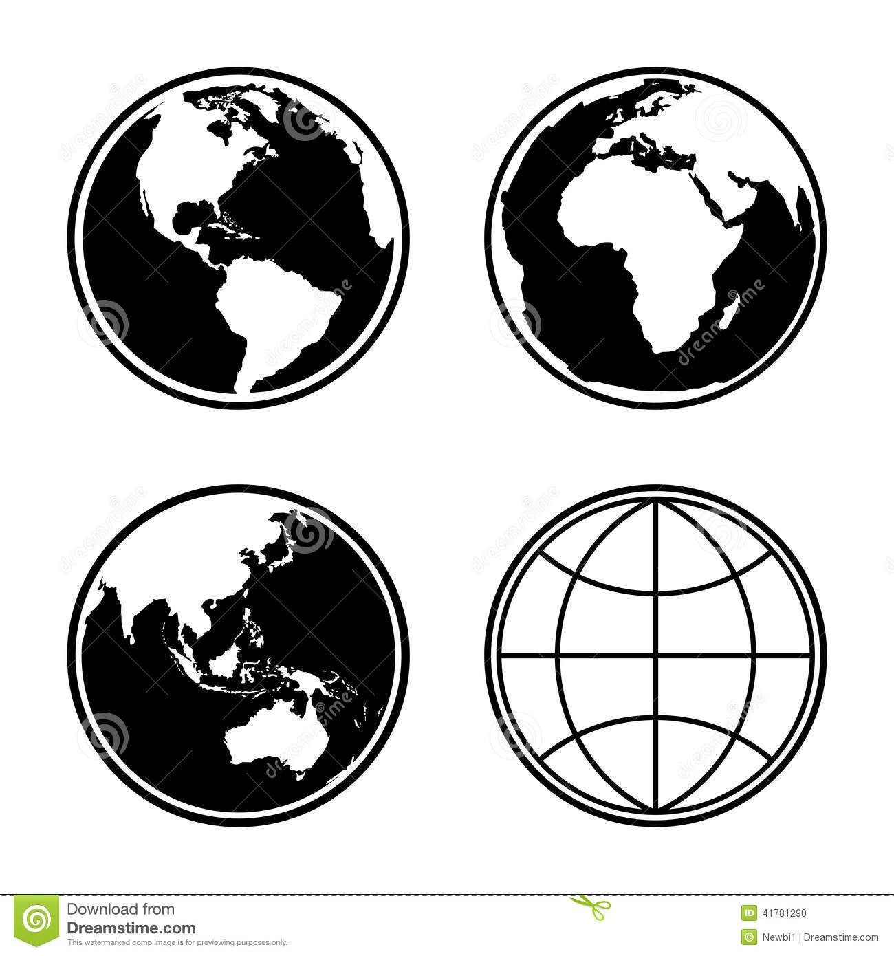Set Of Earth Planet Globe Icons Vector Stock Vector