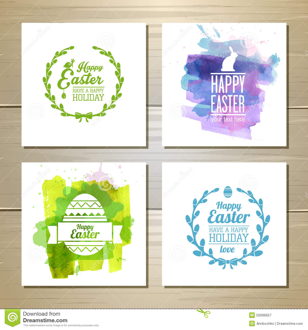 Set Of Easter Watercolor Cards Stock Vector Image 50096657