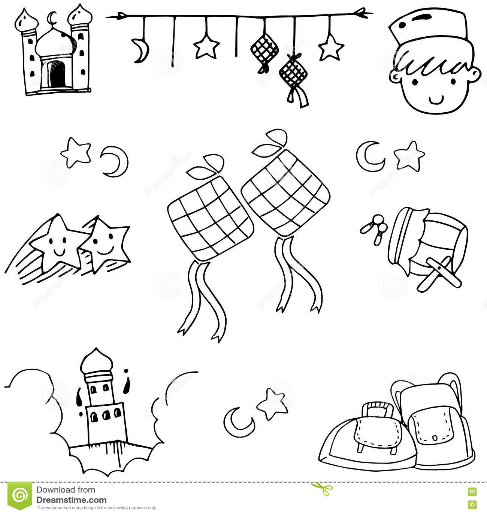 Set Eid Mubarak Doodle Vector Art Stock Vector