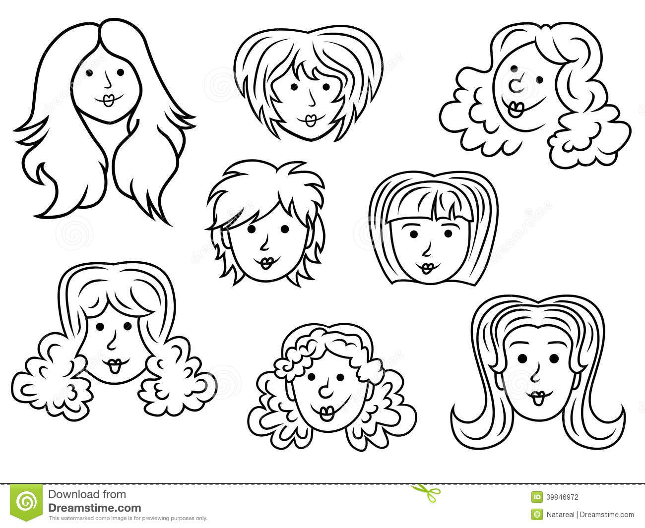 Set Of Eight Cartoon Women Contour Faces Stock Vector