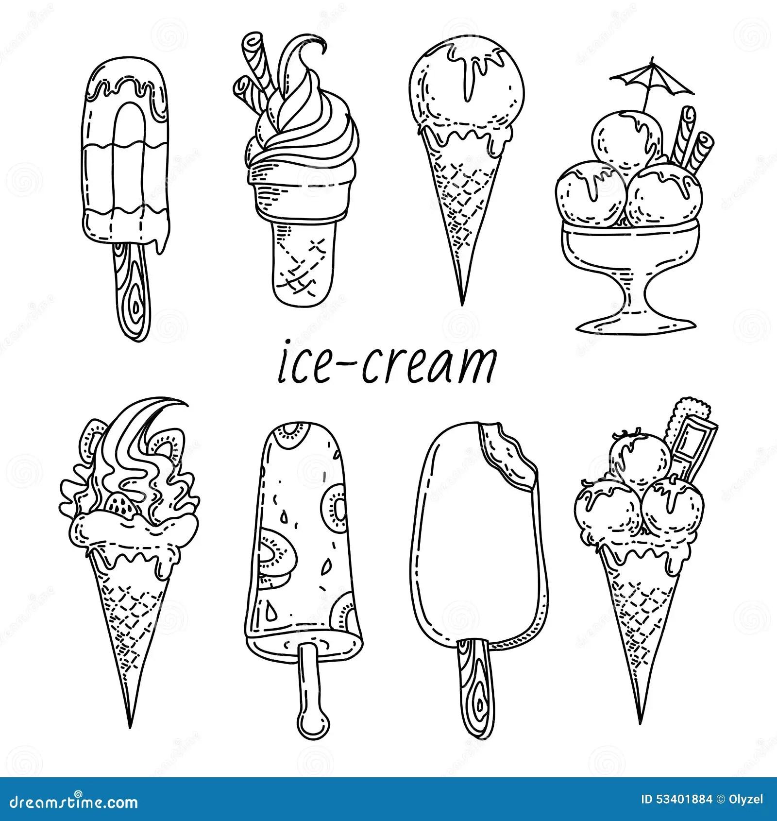 Set Of Eight Ice Creams Stock Illustration Image Of