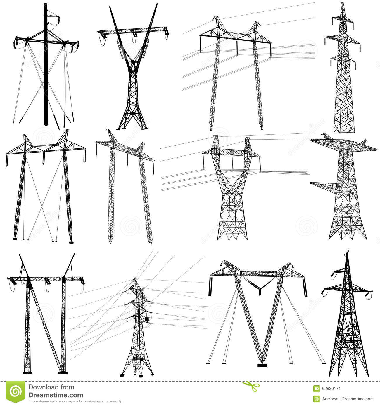 Set Electricity Transmission Power Lines Vector Stock