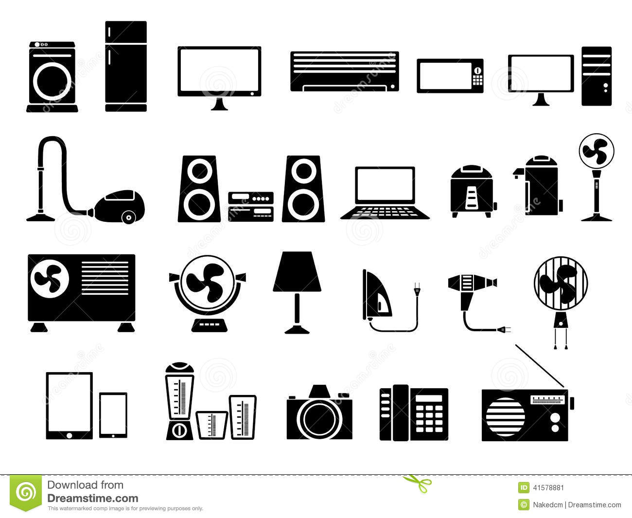 Set Of Electronics Icon Vector Illustration Stock Vector