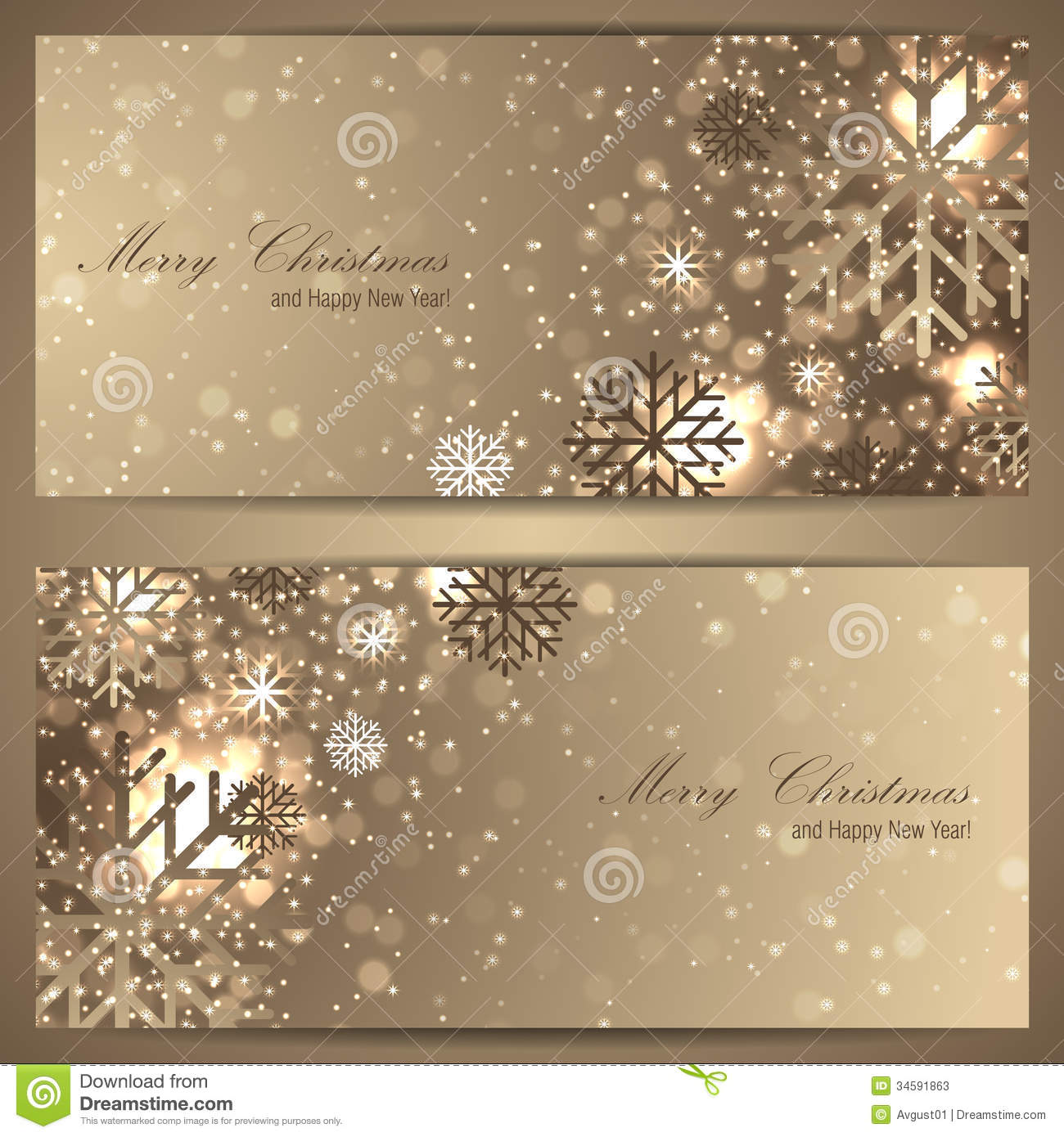 Set Of Elegant Christmas Banners With Snowflakes Stock
