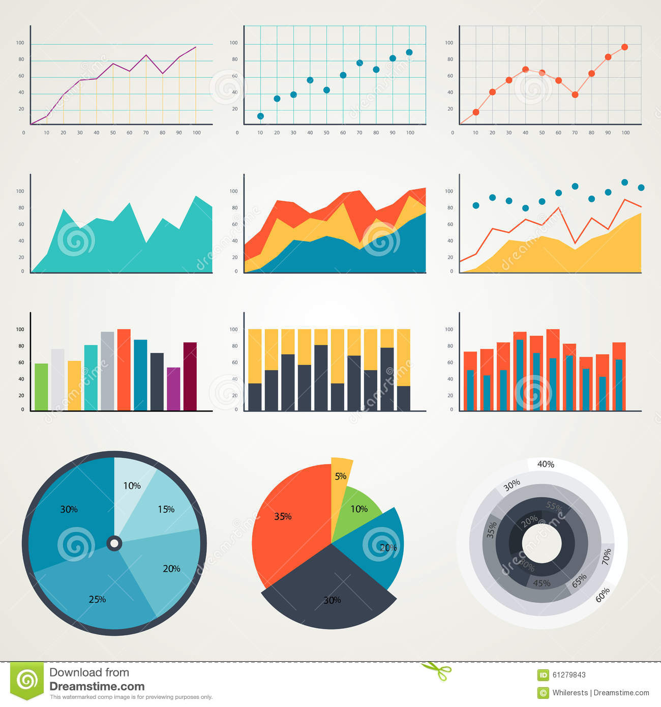 Set Of Elements For Infographics Charts Graphs Diagrams
