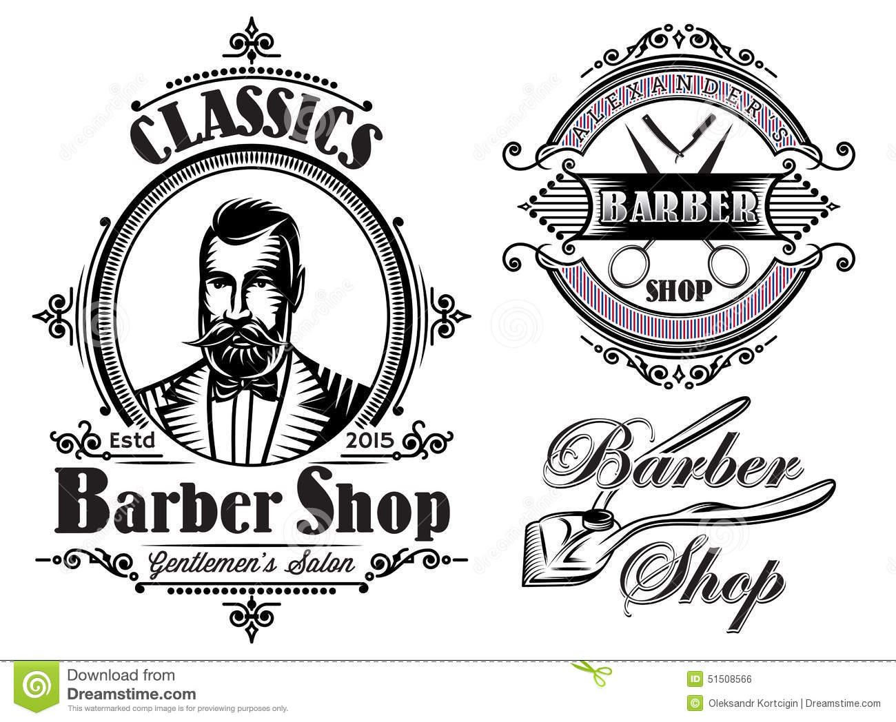 Set Of Emblems On A Theme Barber Shop Stock Vector