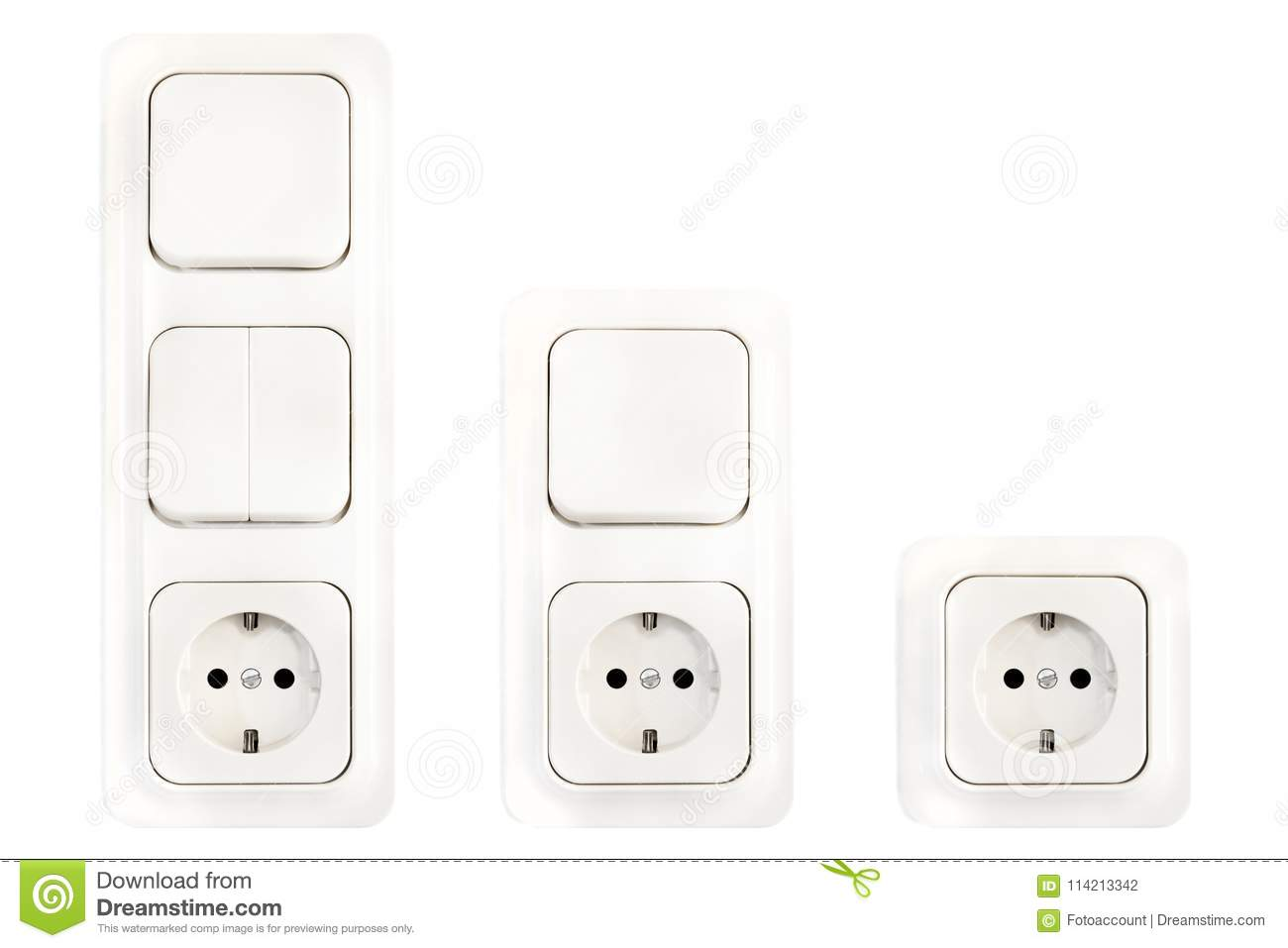 Set Of European Electric Sockets And Light Switches Stock