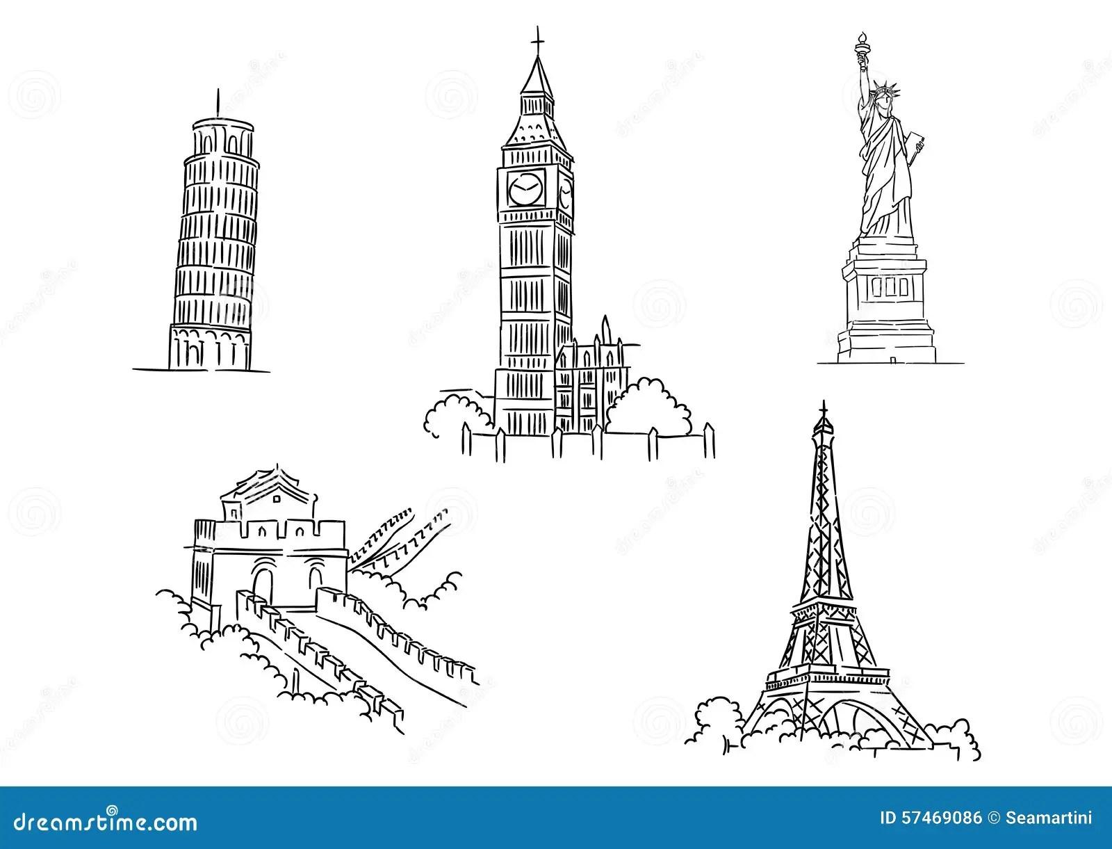 Set Of Famous World Landmarks Stock Vector