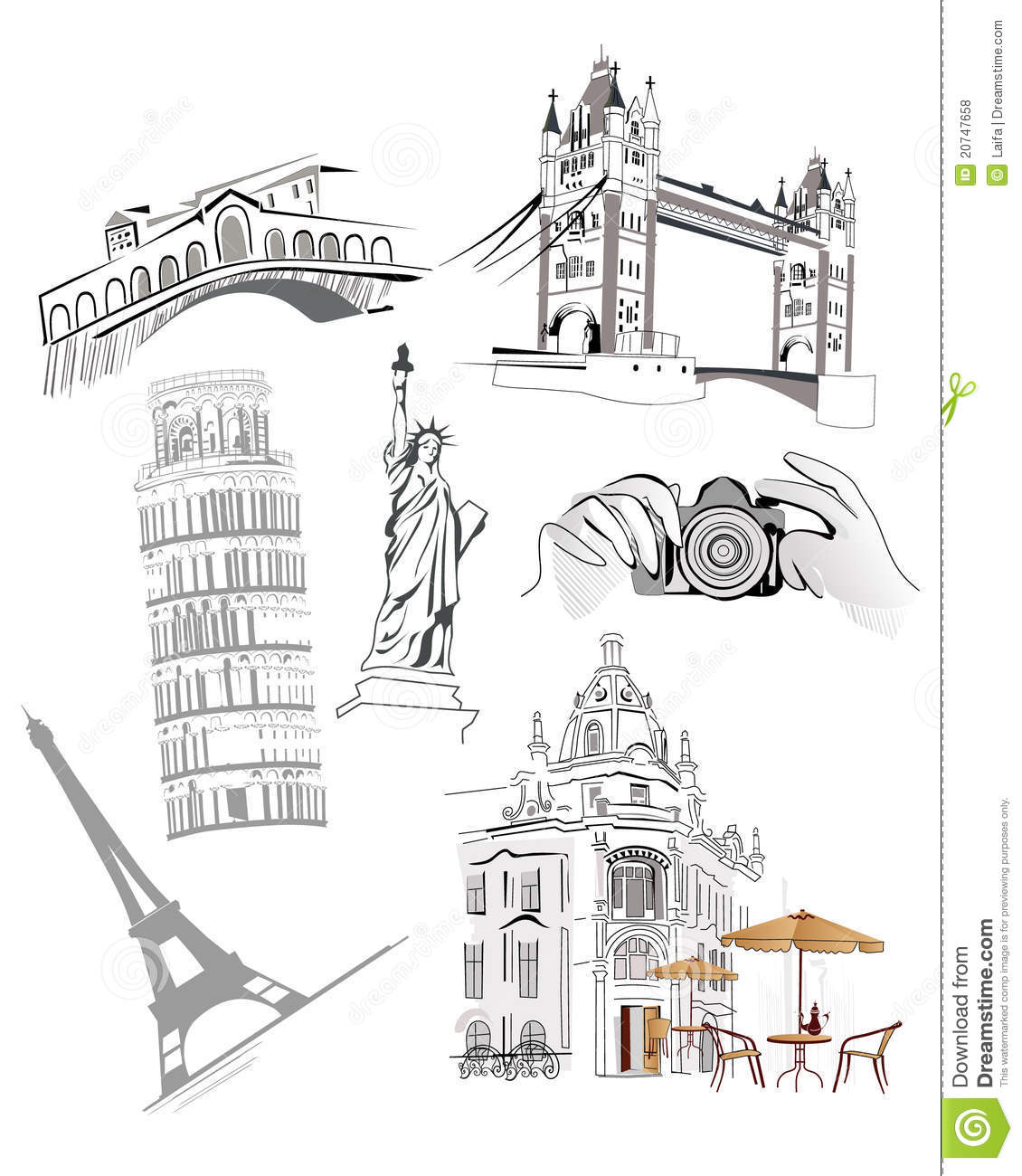 Set Of Famous World Sights Royalty Free Stock Photos