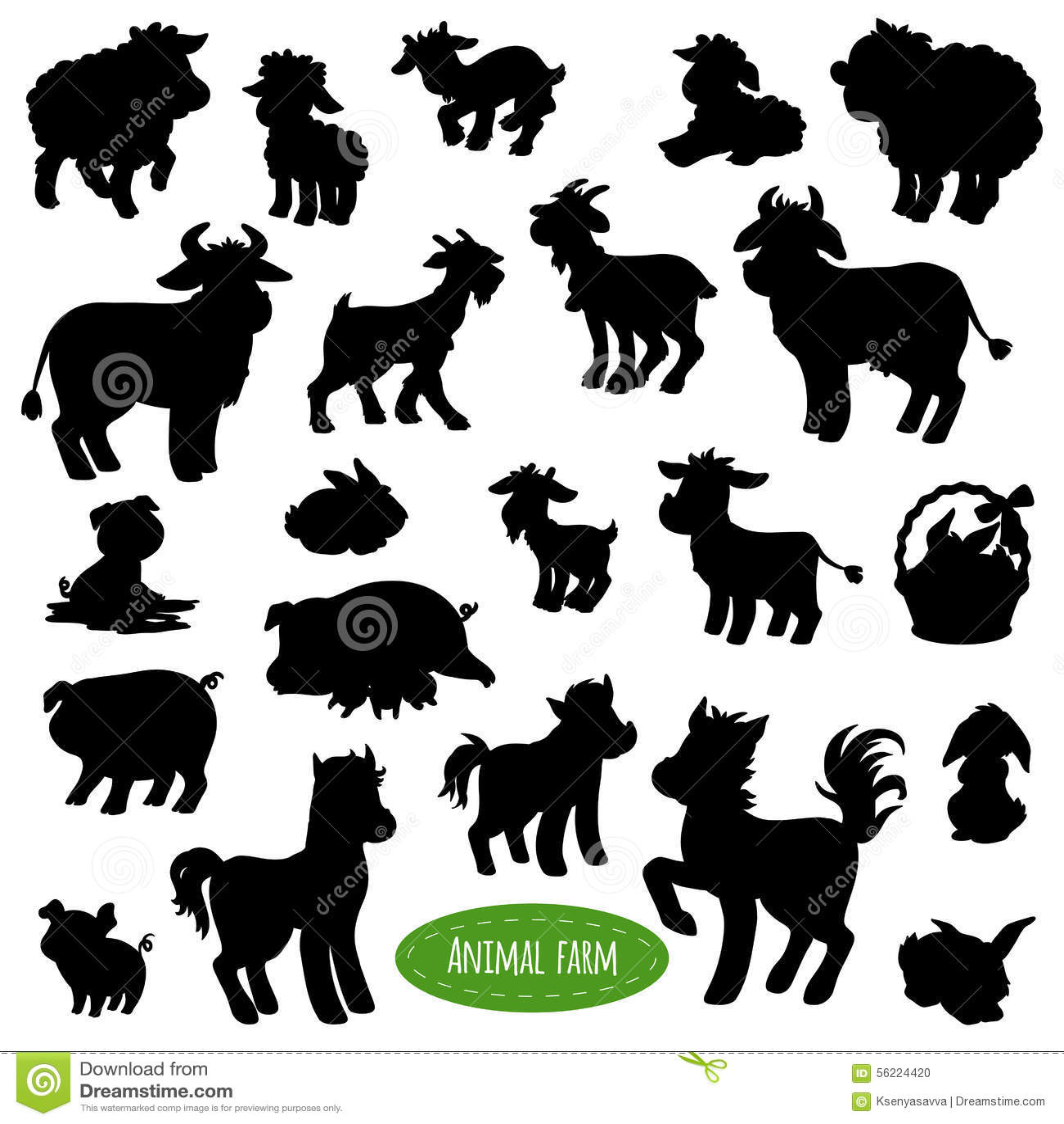 Set Of Farm Animal Silhouettes Stock Vector