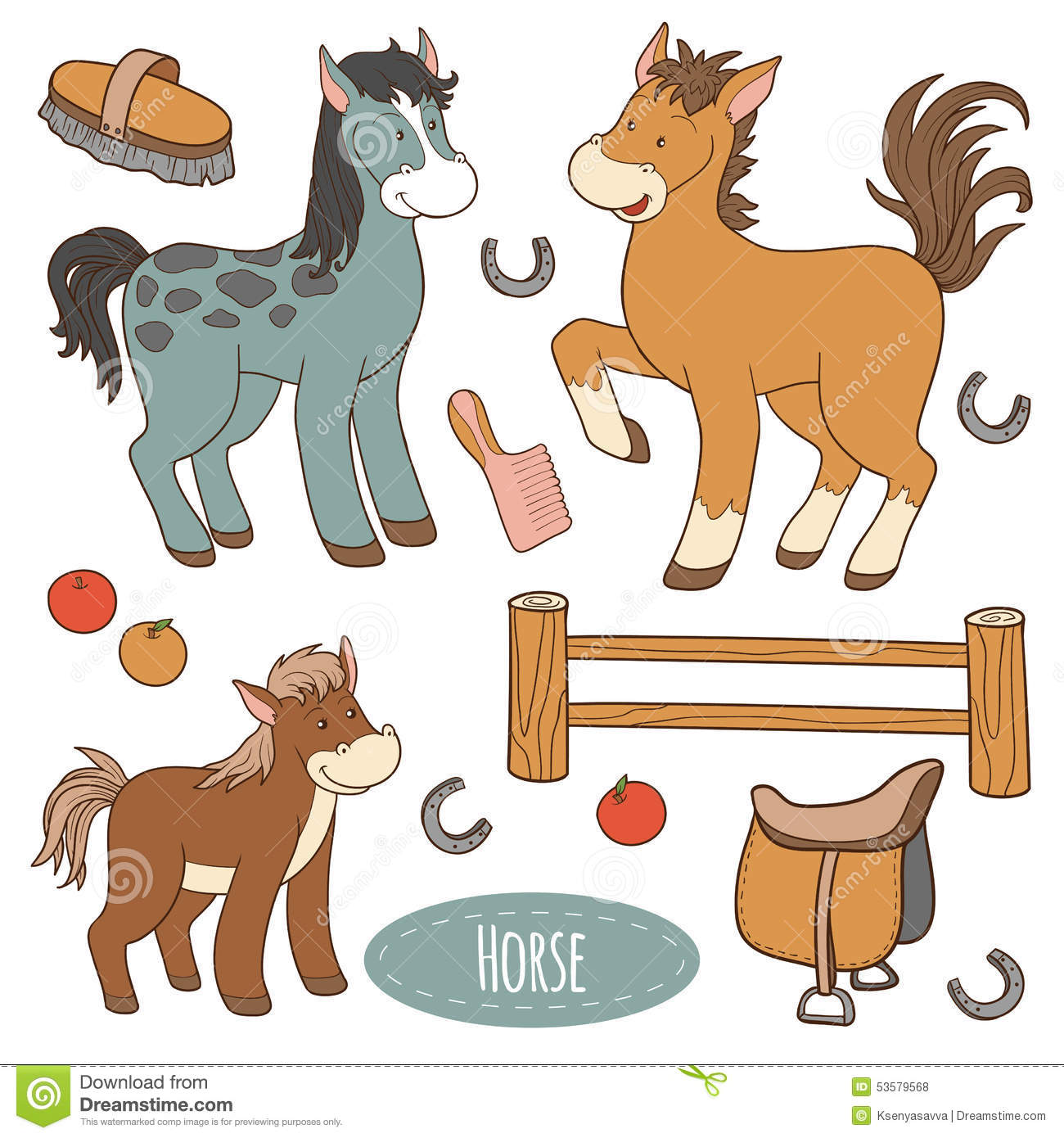 Set Of Farm Animals And Objects Vector Family Horse Stock