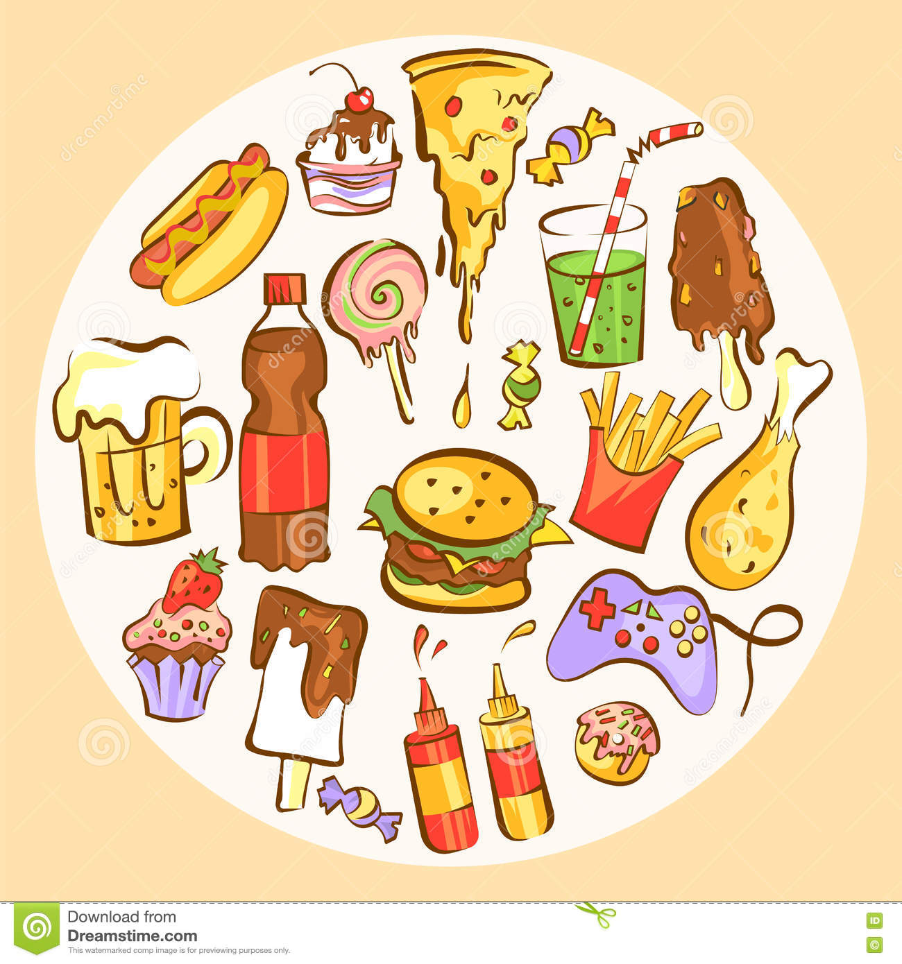 Set Of Fast Food Dishes Junk Food In Circle Composition