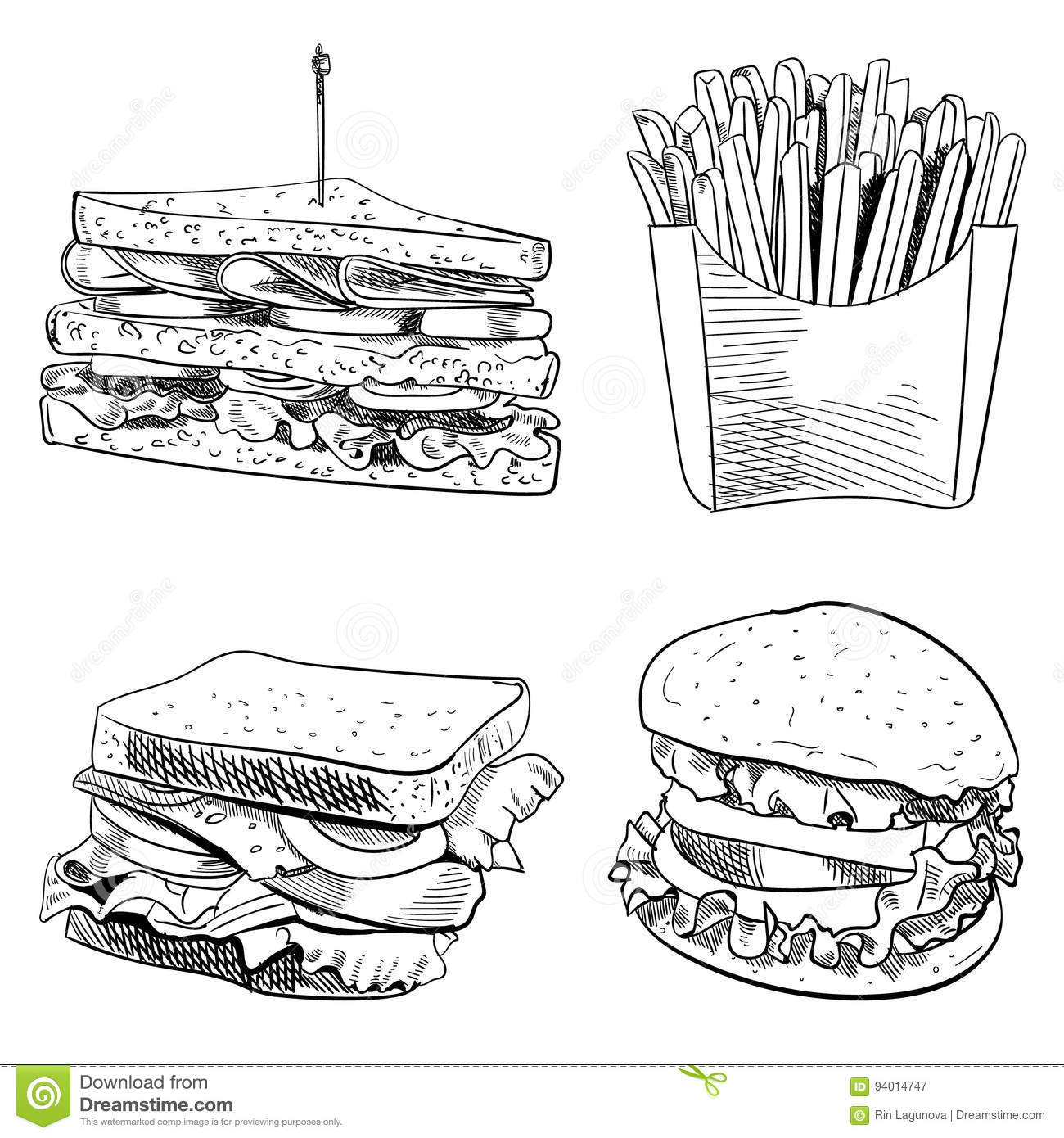 Set Of Fast Food Hand Drawn Vector Illustration On White