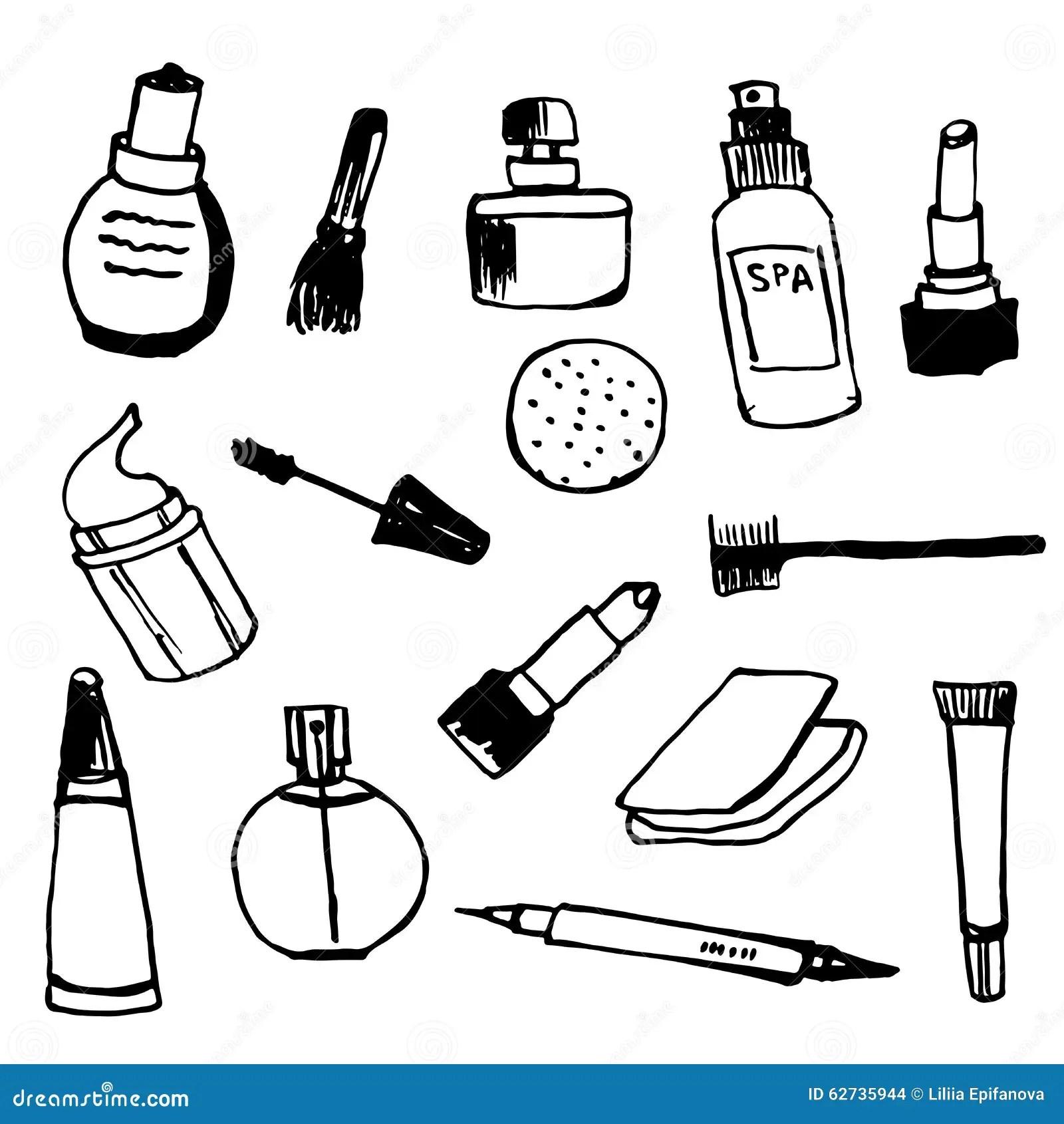 Set Of Female Cosmetics Outline Hand Drawn Illustration