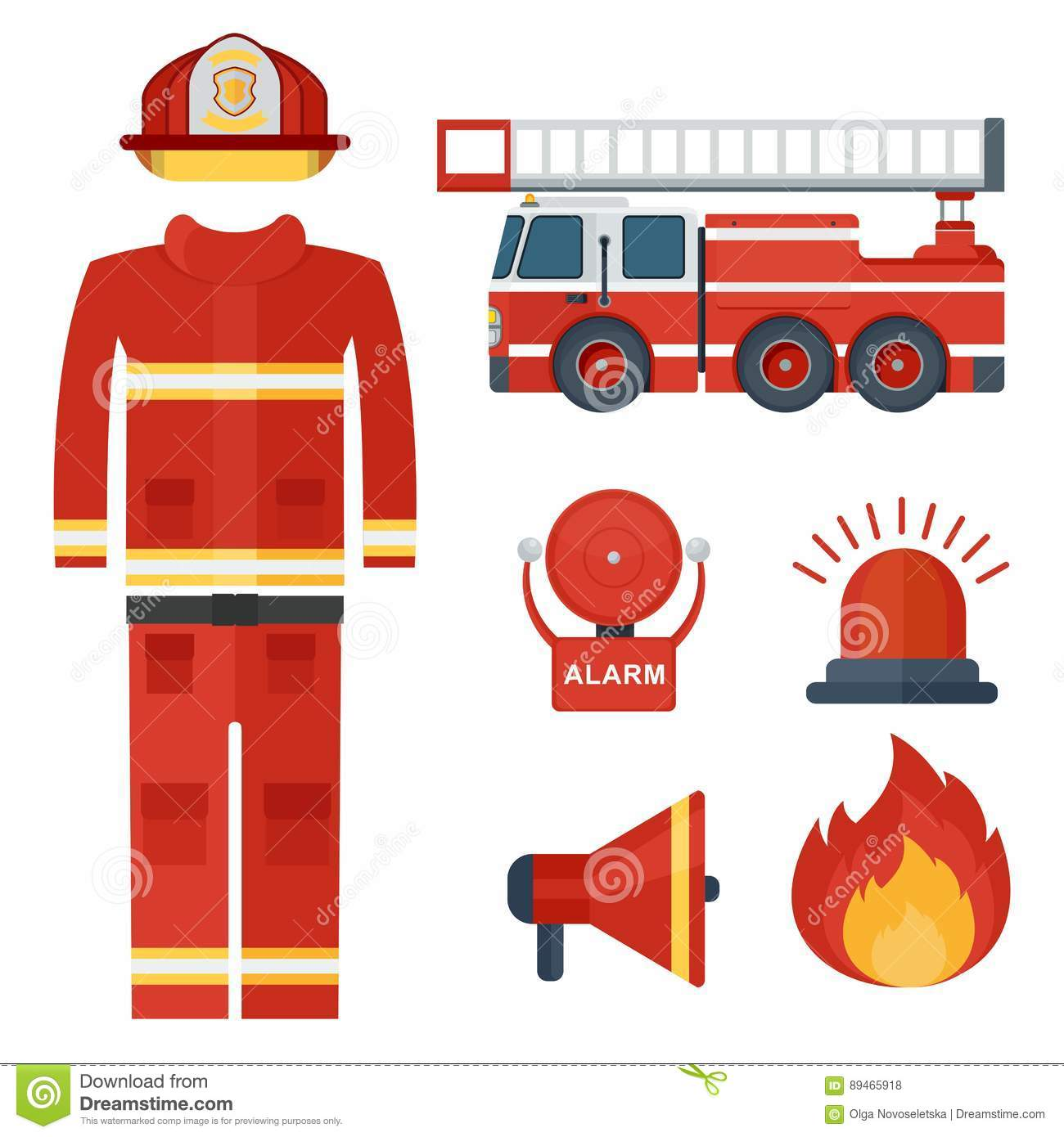 Set Of Firefighter Clothes And Alarm Stock Vector