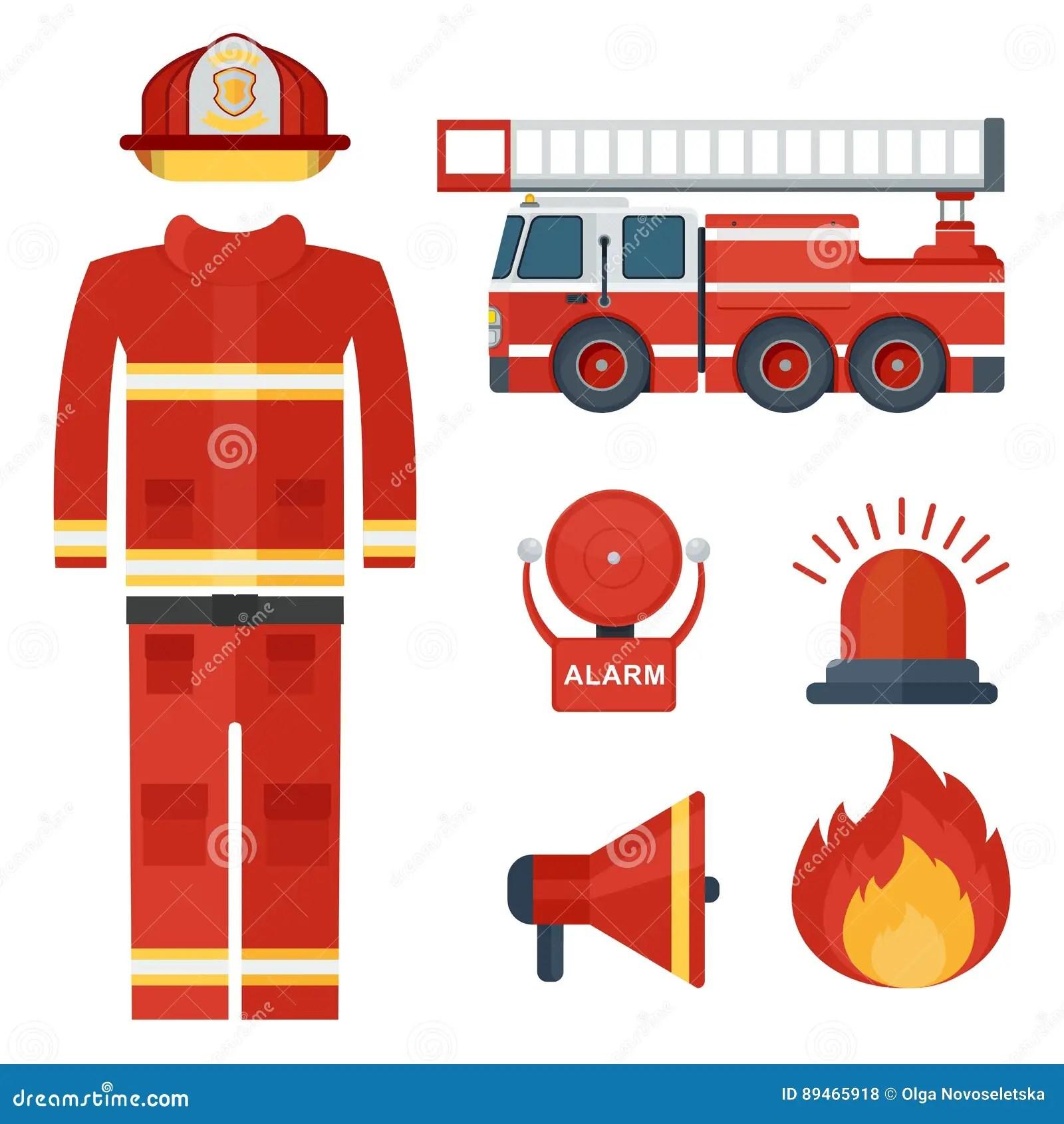 Fireman Concept Set Cartoon Style Cartoon Vector