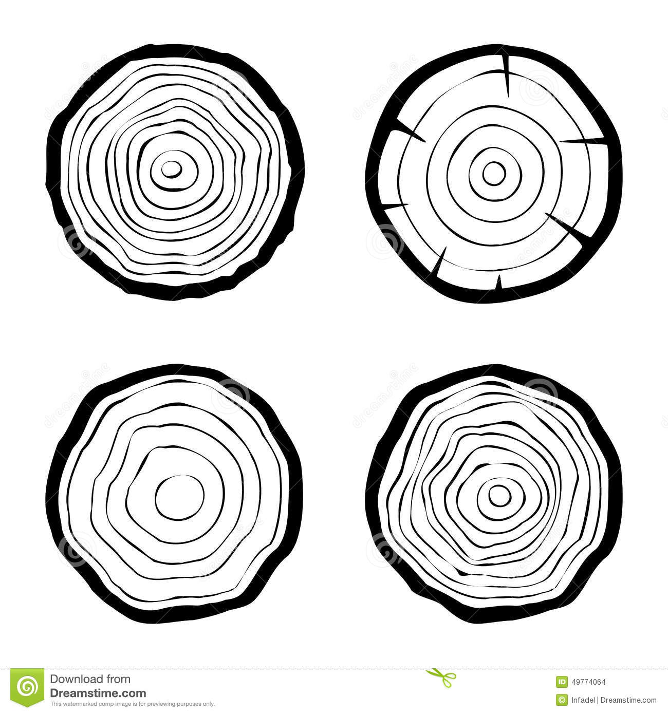 Set Of Four Tree Rings Icons Stock Vector