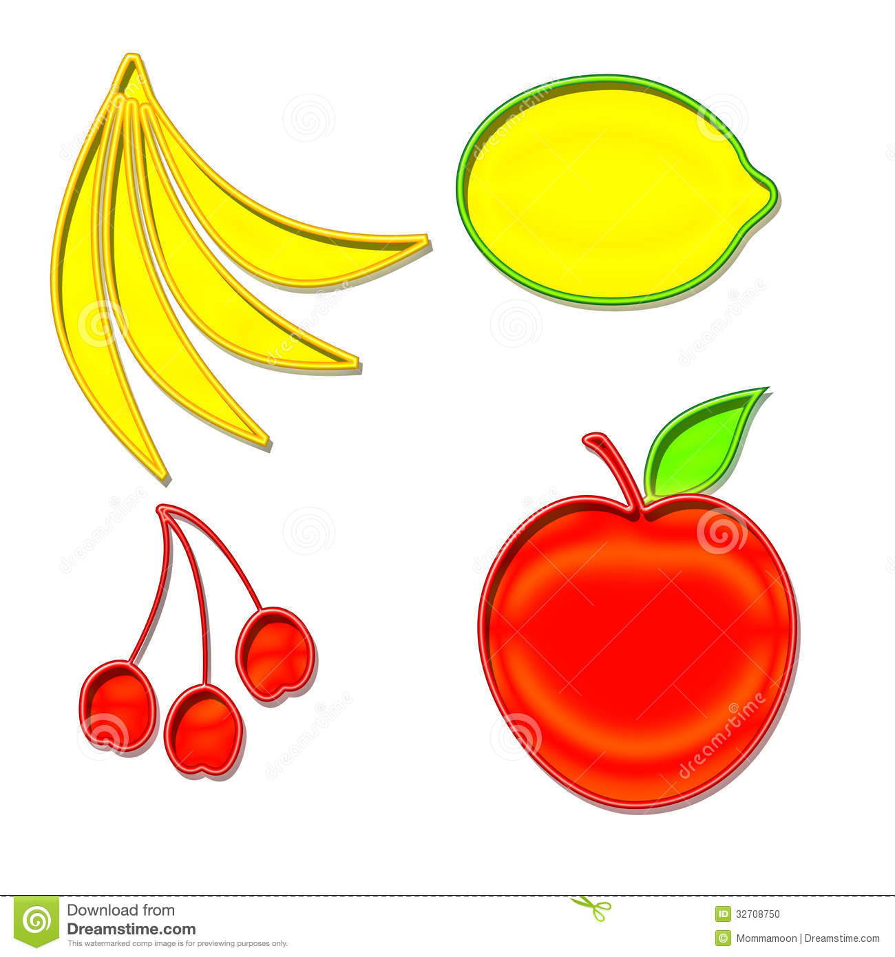 Set Of Fruit Shapes Stock Photo