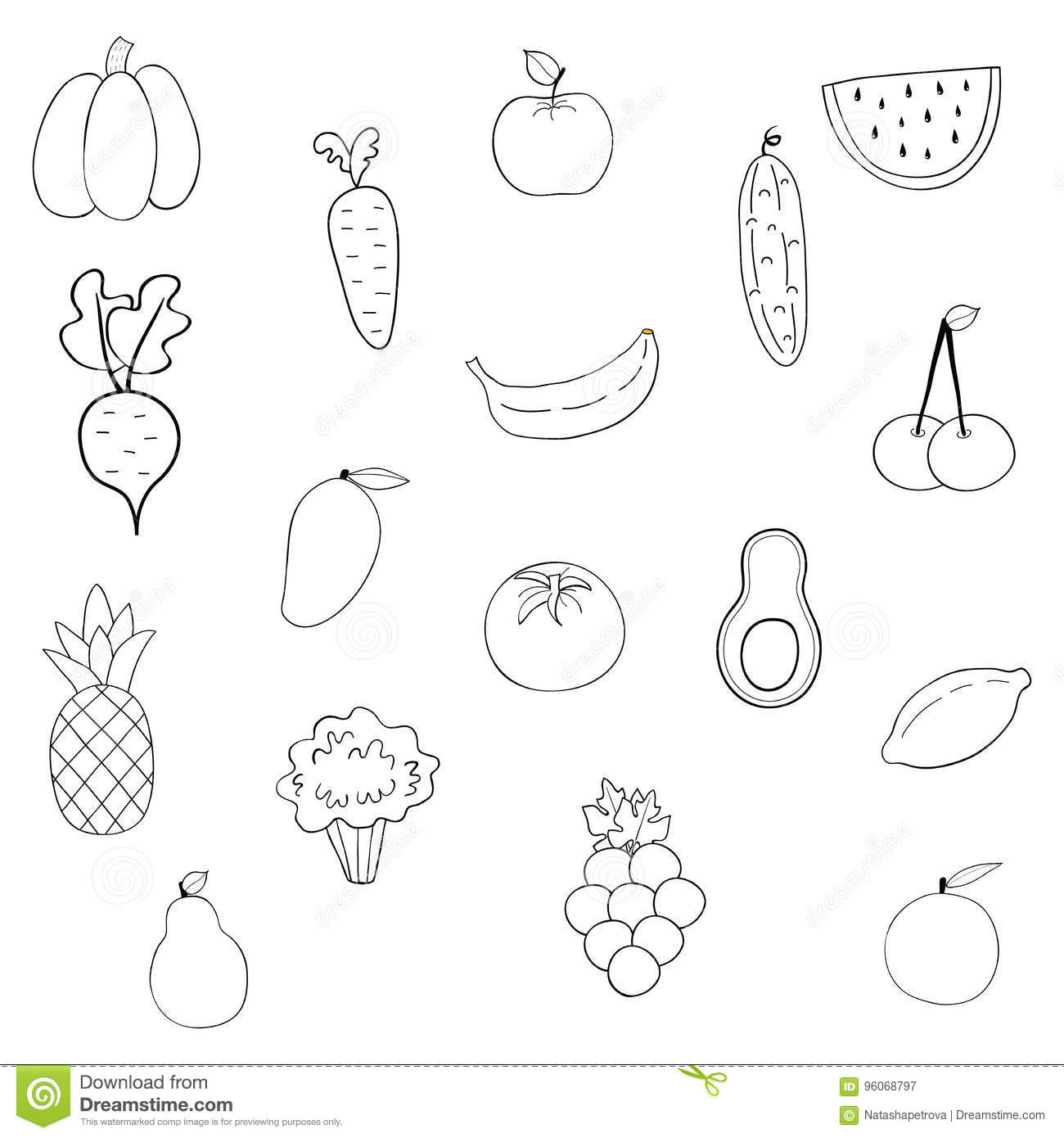 Set Of Fruits And Vegetables Stock Vector