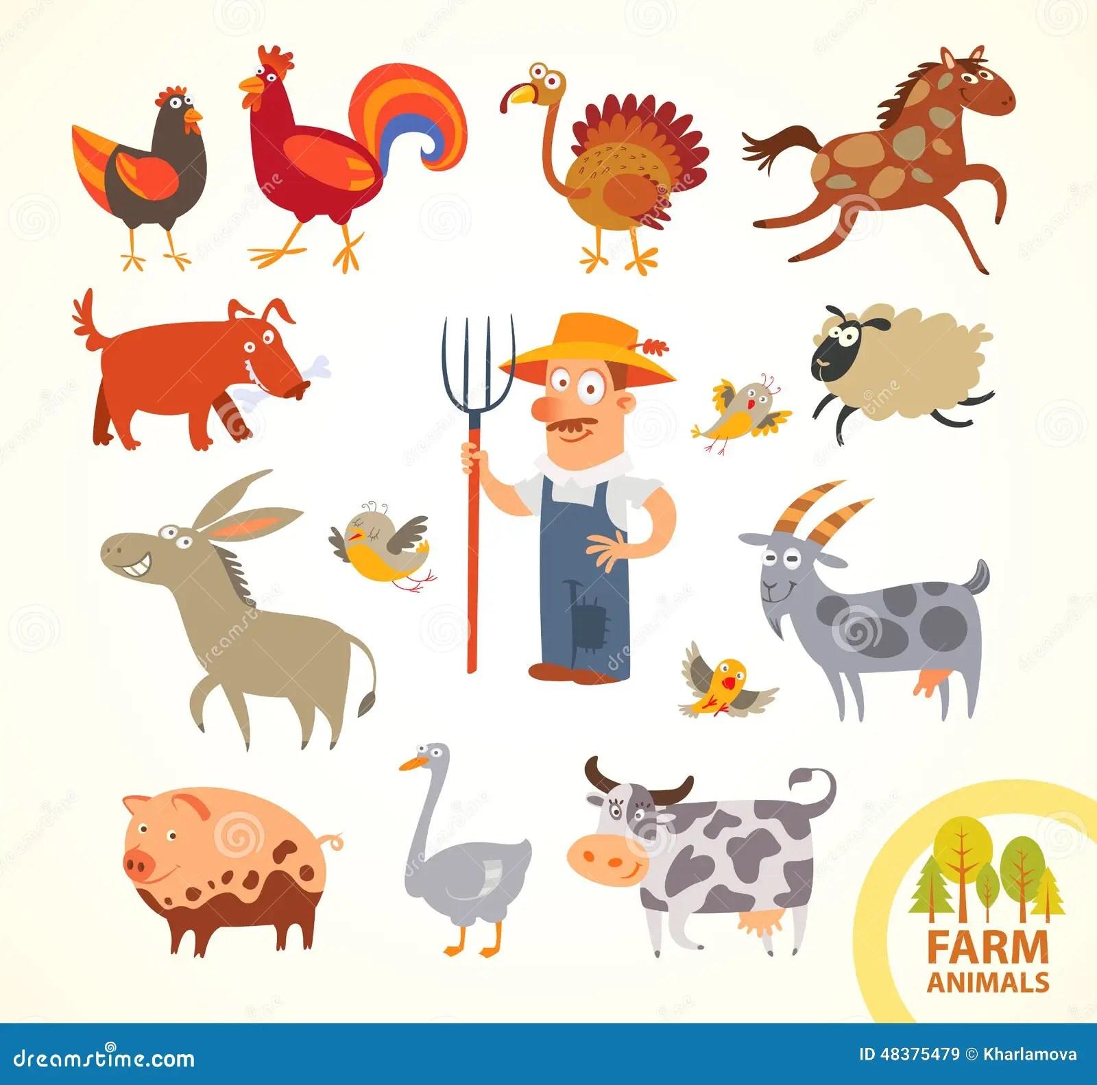 Set Funny Farm Little Animals Cartoon Character Stock