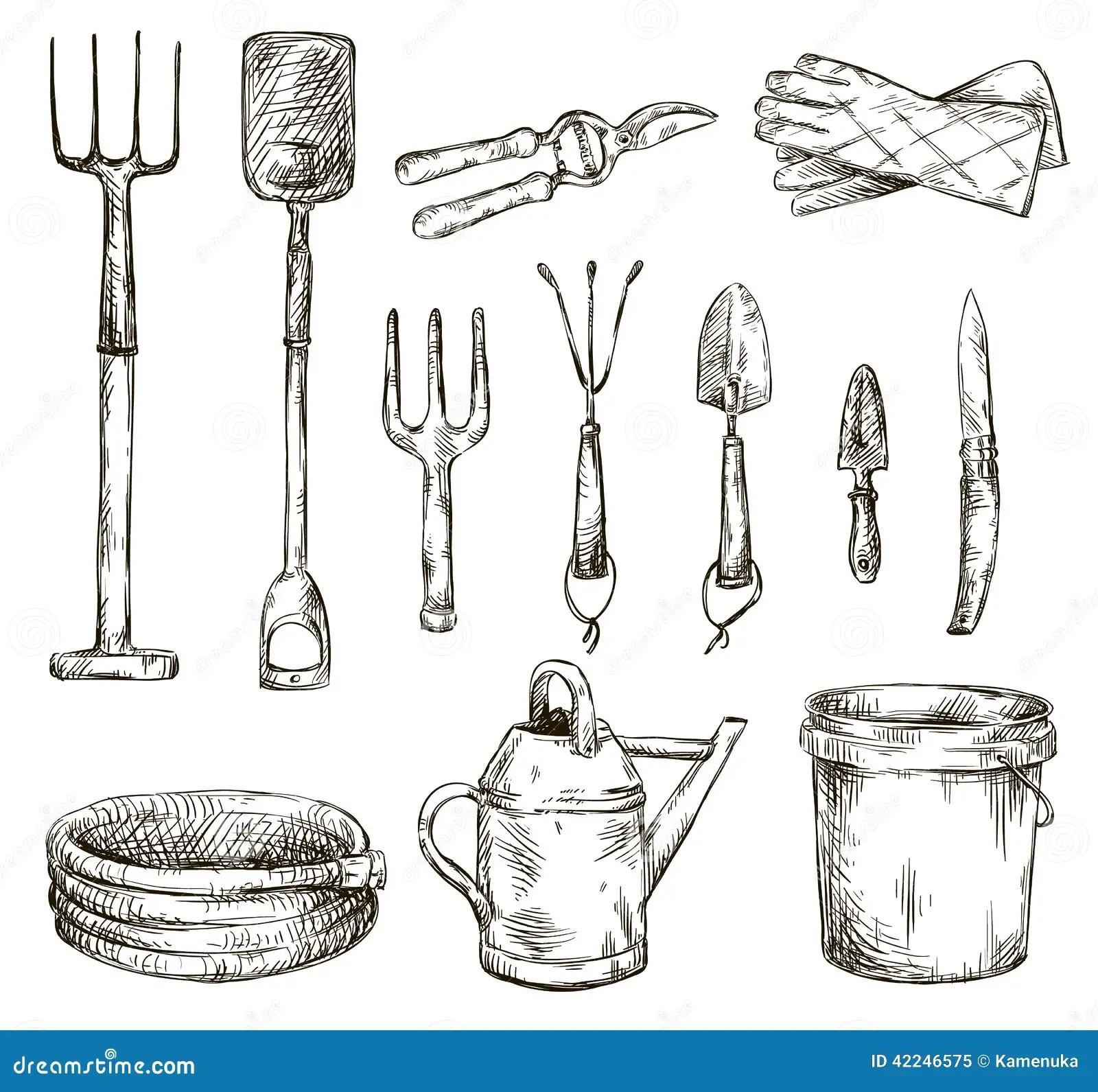 Set Of Gardening Tools Drawings Vector Illustrations