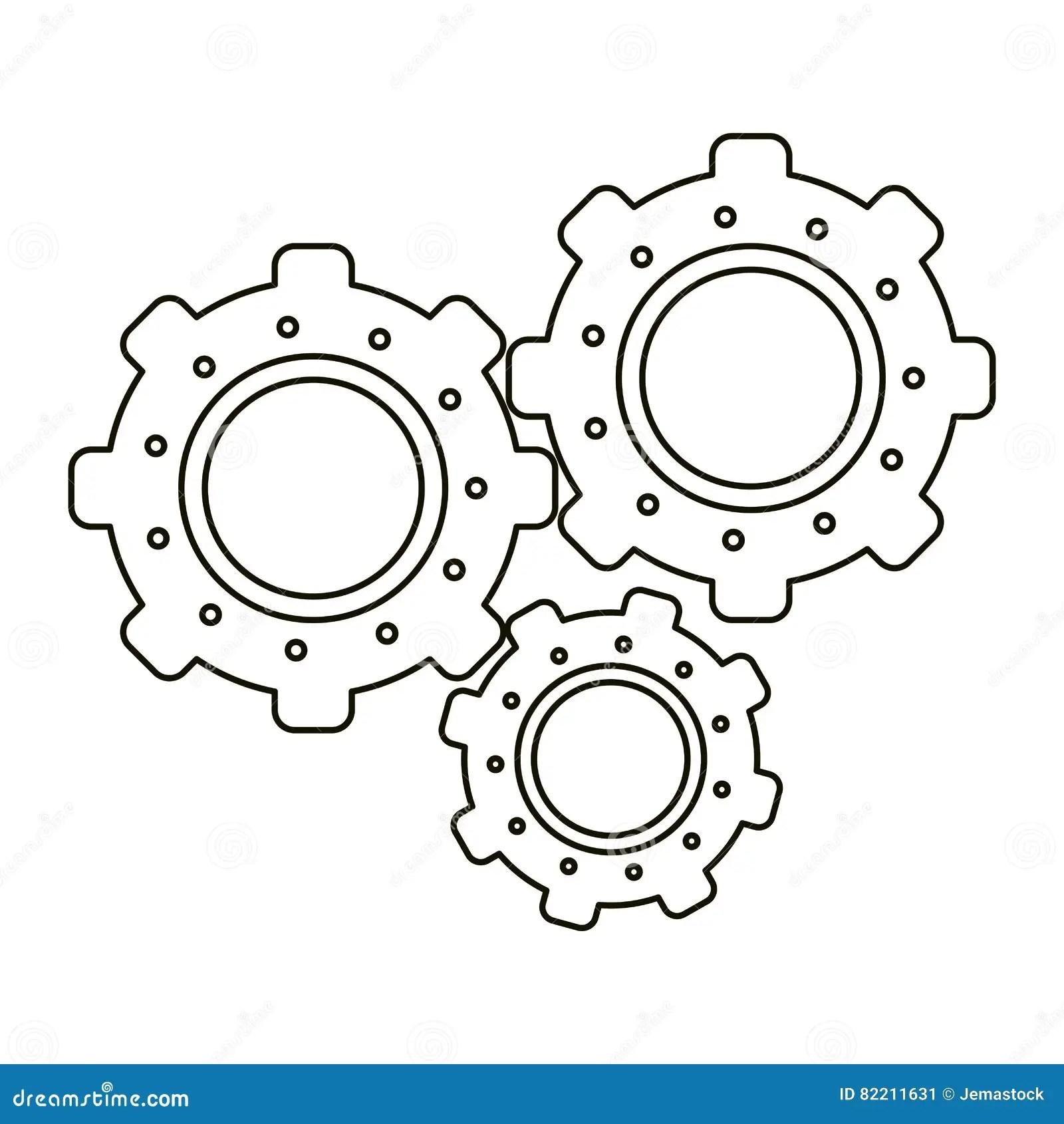 Set Gear Wheel Engine Teamwork Outline Stock Vector