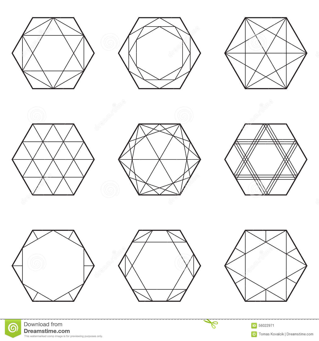Set Of Geometric Elements Line Design Hexagon Stock