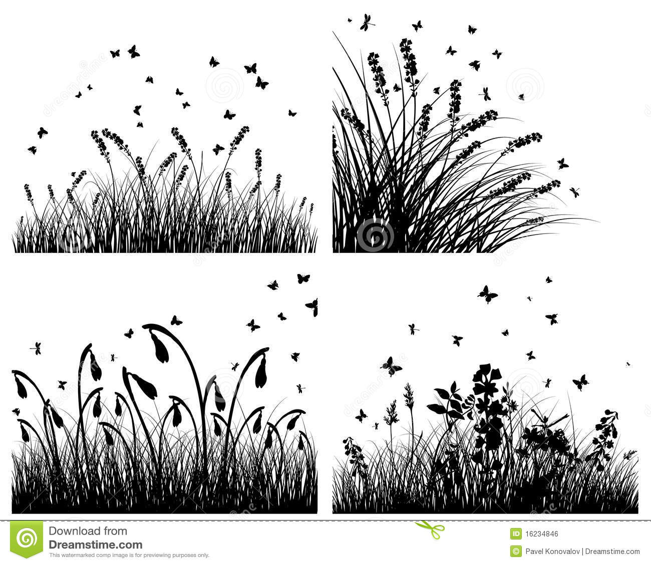 Set Of Borders With Grass And Flowers Vector Illustration