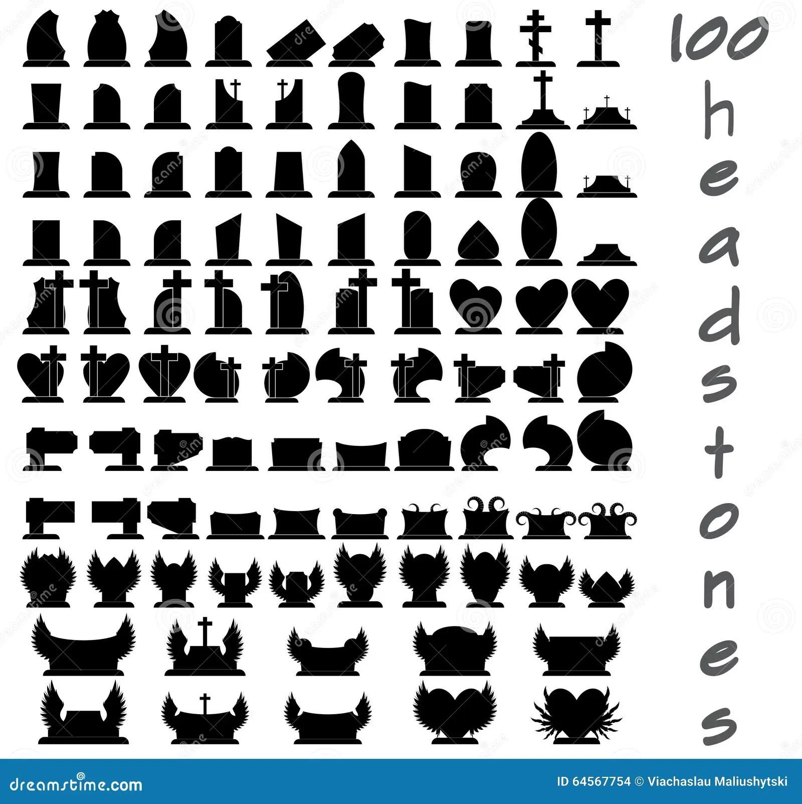 Set Of 100 Gravestones Stock Vector