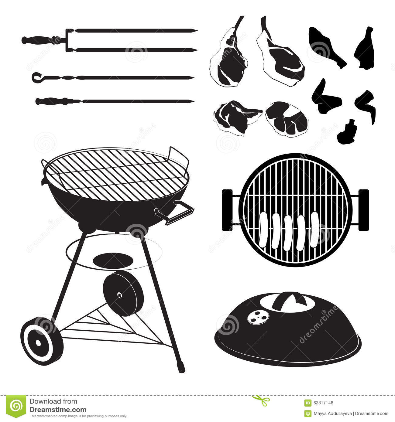 Meat Pieces And Vegetables On A Spit Served Food Cartoon