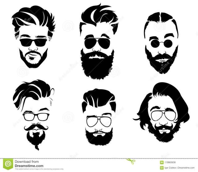 set of hairstyles for men in glasses. collection of black