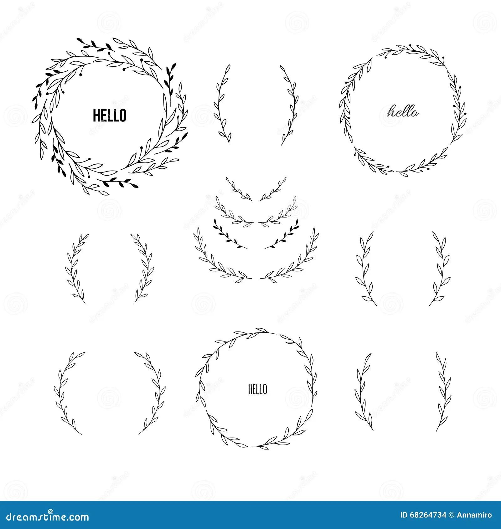 Set Of Hand Draw Vector Laurel Wreaths Stock Vector