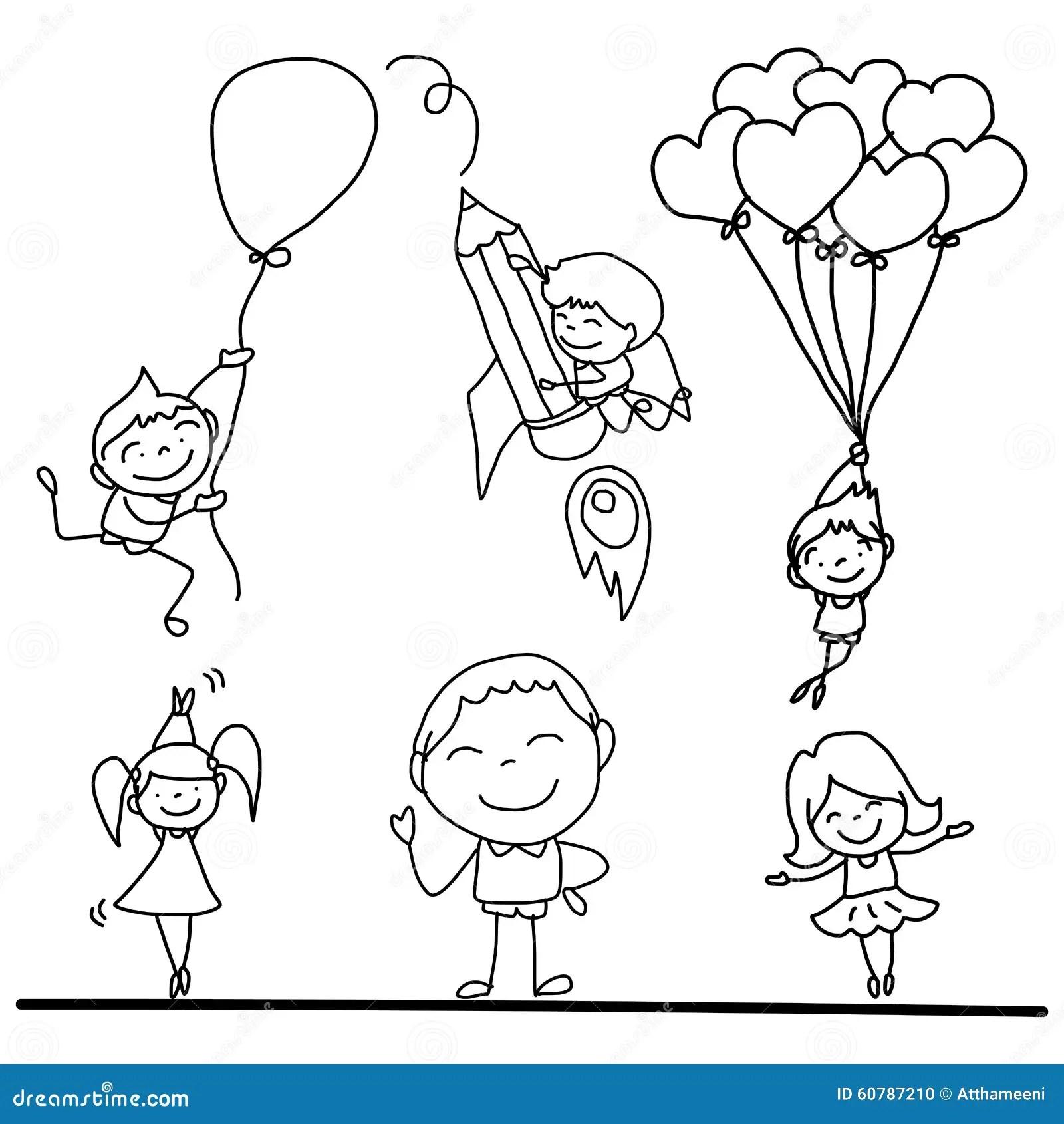 Set Of Hand Drawing Cartoon Happy Kids Playing Stock