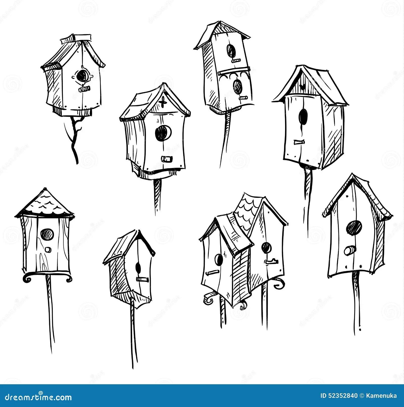 Set Of Hand Drawn Bird Houses Stock Vector