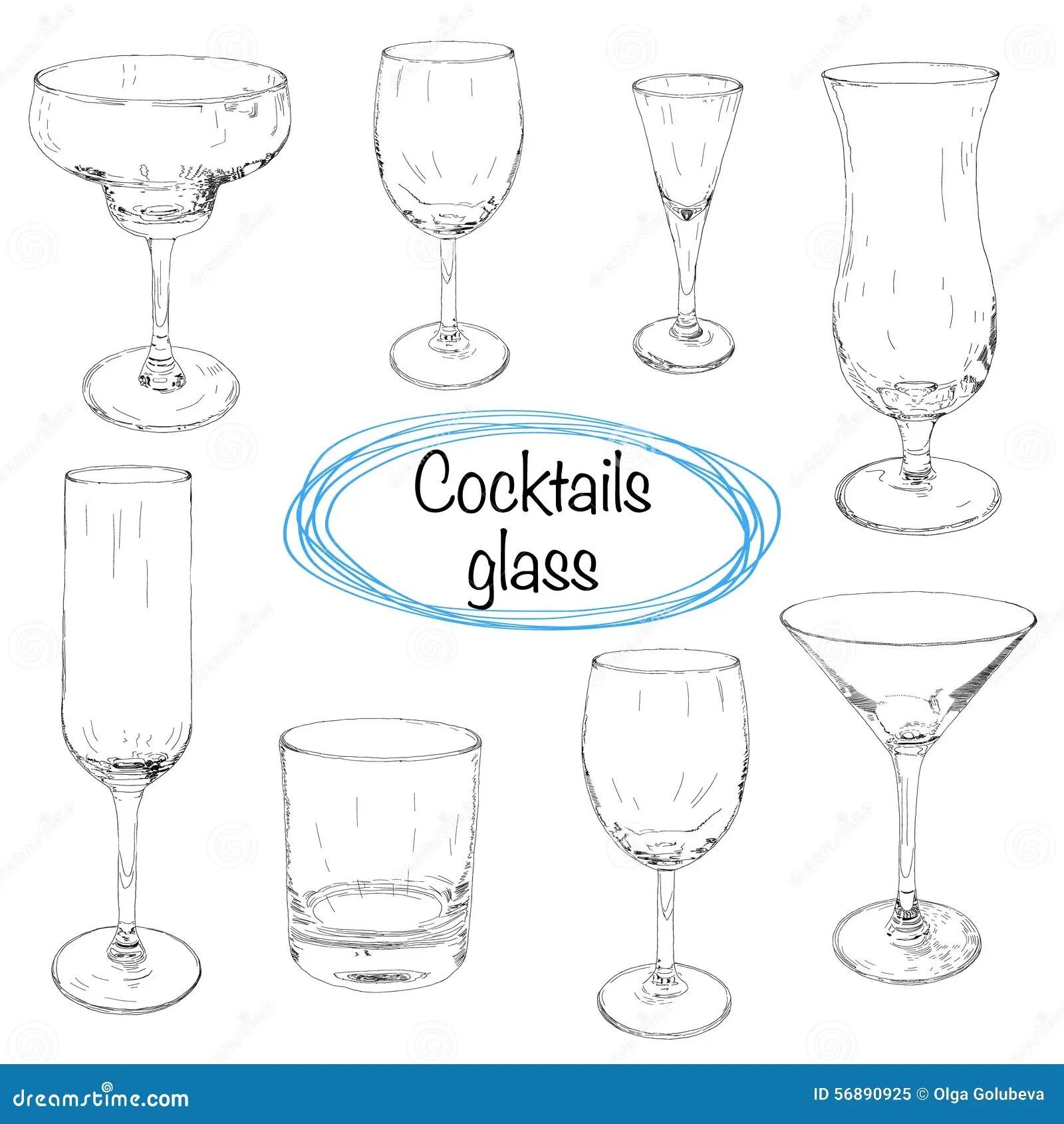 Set Of Hand Drawn Cocktail Glass Sketch Illustration