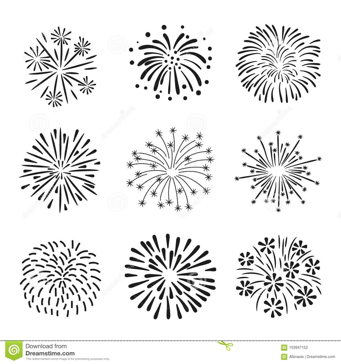 Set Of Hand Drawn Fireworks Isolated On White Background