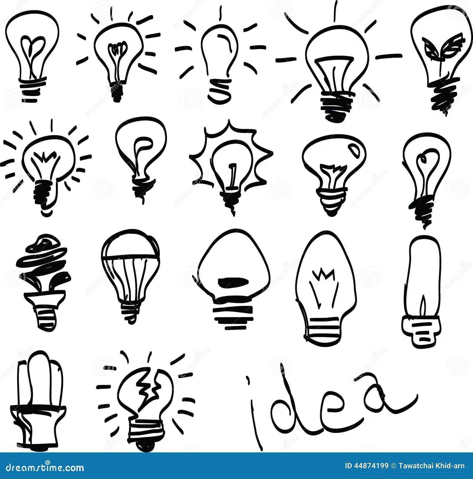 Set Of Hand Drawn Light Bulbs Symbol Of Ideas Stock