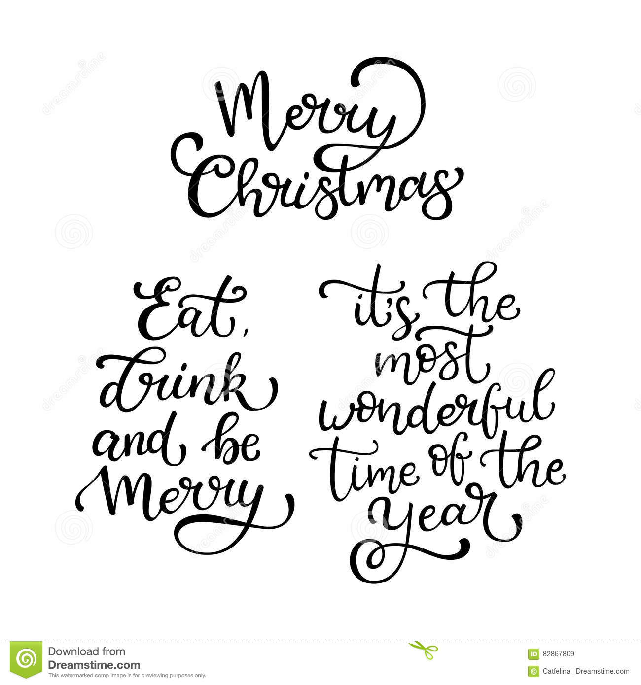 Set Of Hand Drawn Quotes Merry Christmas Eat Drink And