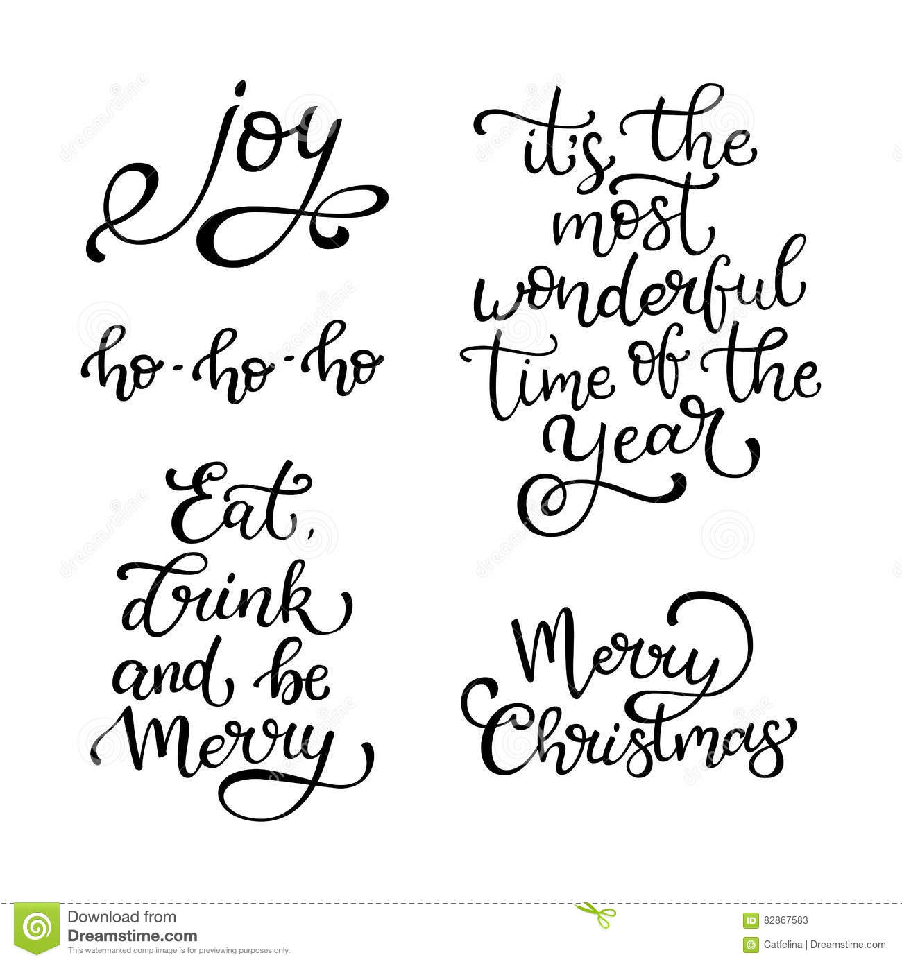 Set Of Hand Drawn Vector Quotes Merry Christmas Y Eat