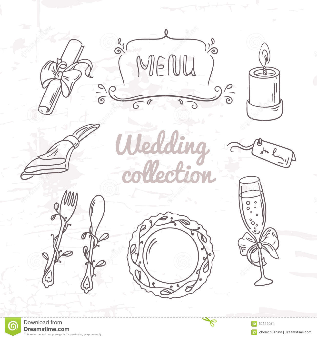 Set Of Hand Drawn Wedding Table Decoration In Outline