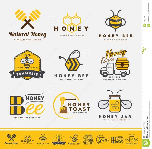Set Of Honey Bee Logo And Labels For Honey Products Stock