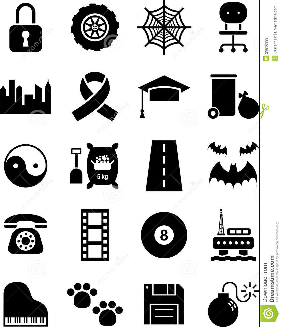 Black Icons Stock Vector Illustration Of Objects