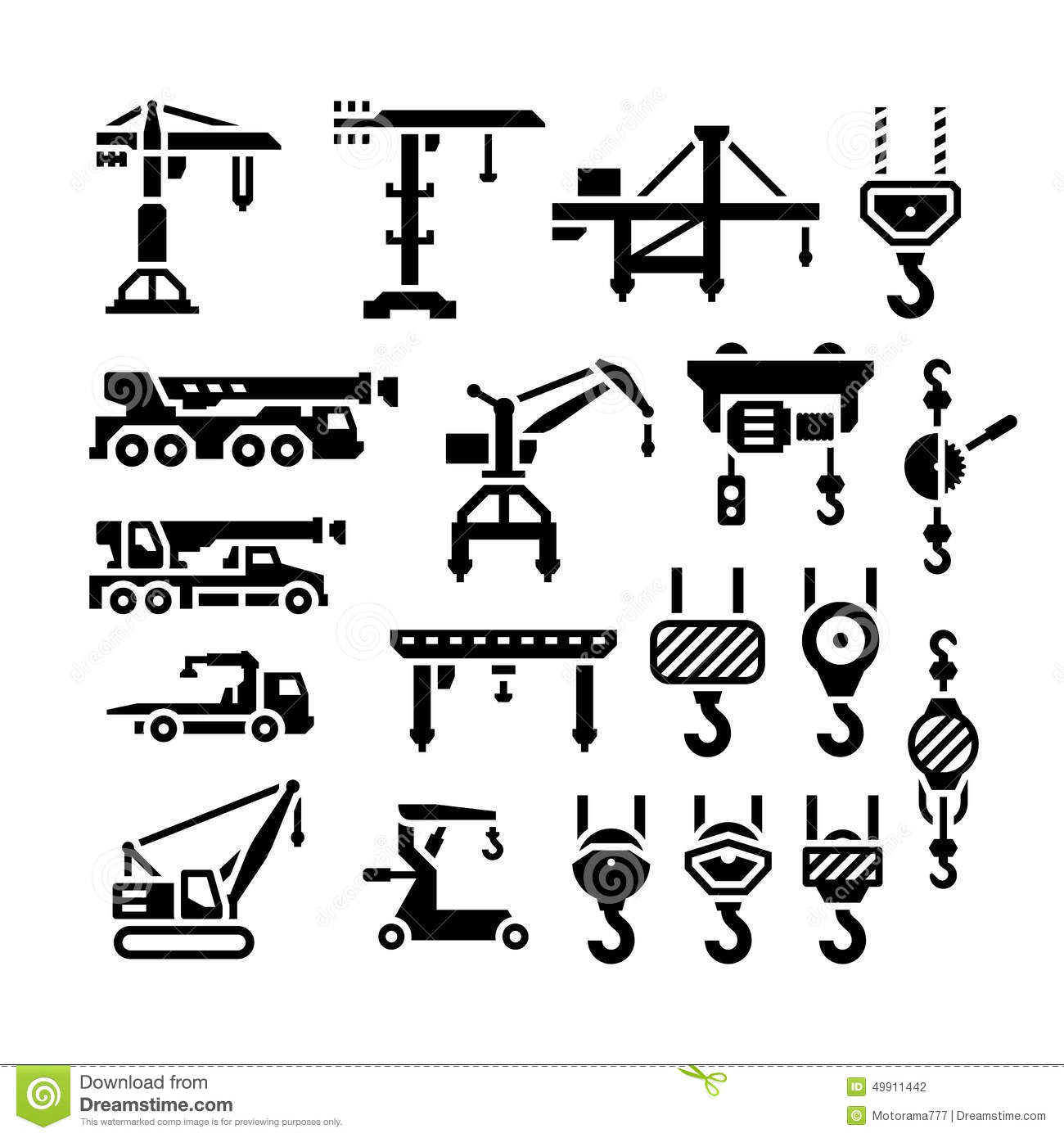 Set Icons Of Crane Lifts Winches And Hooks Stock Vector