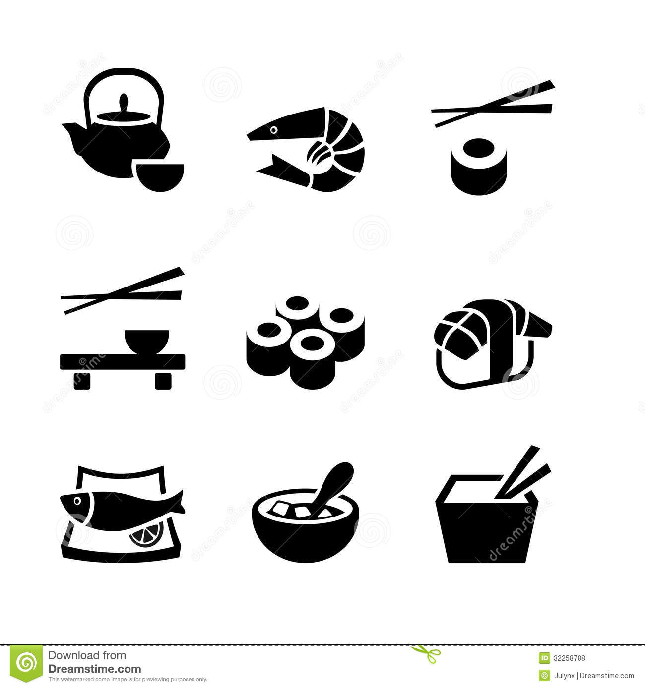 Set Of 9 Icons Japanese Food Stock Vector