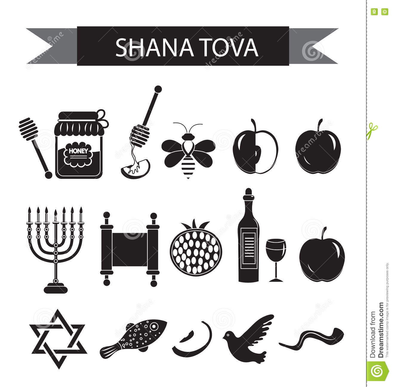 Judaism Black And White Icons Vector Illustration