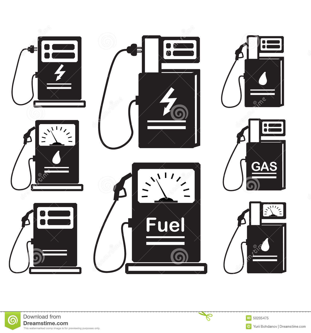 Set Of Icons Refueling Carsel Gas Stock Vector