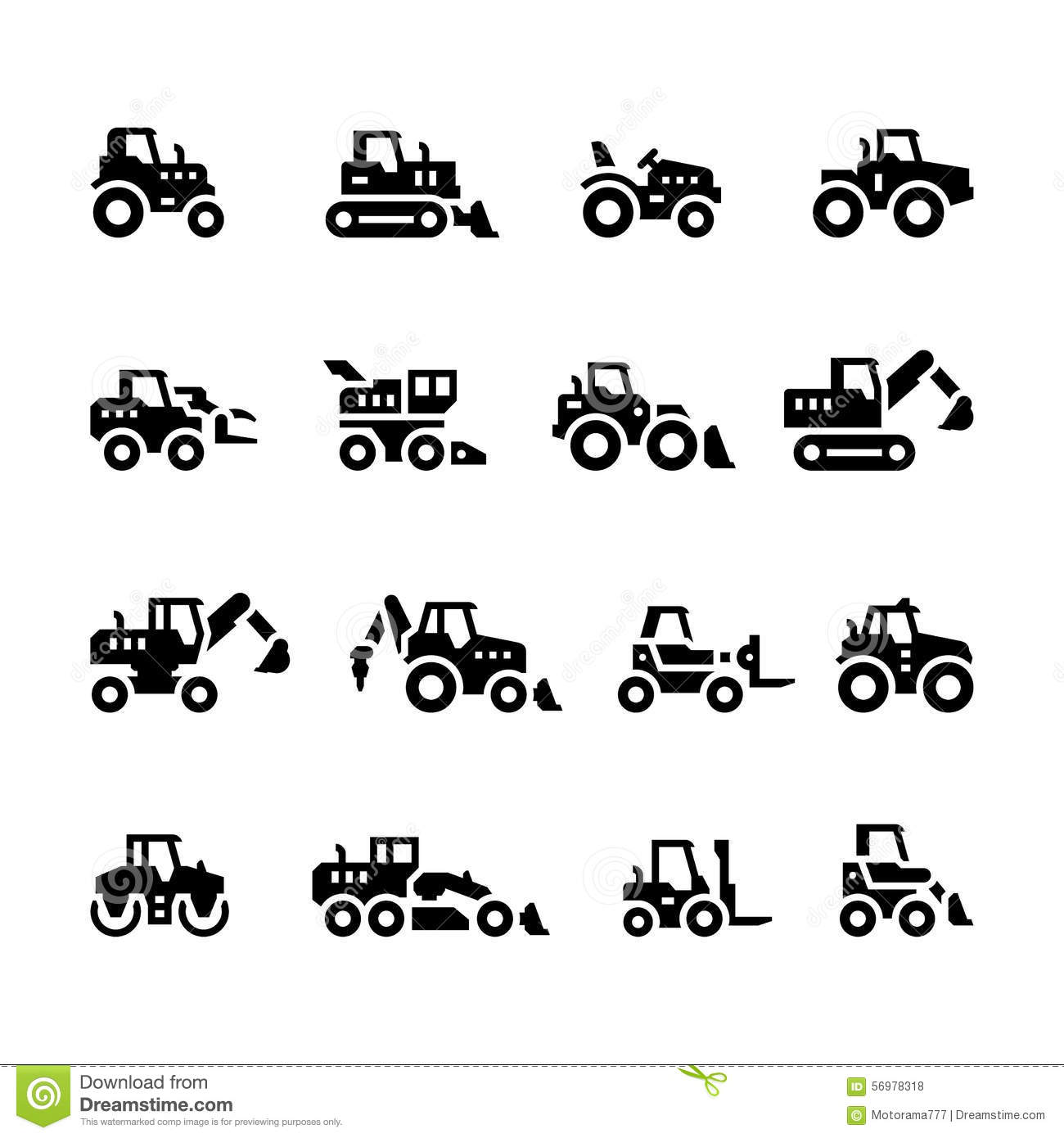 Set Icons Of Tractors Stock Vector Image Of Backhoe